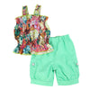 Melanie Days Floral Chiffon Cargo Shorts Set- Mint Green