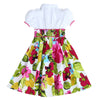 ANNA BELLE FLORAL PUFFED SLEEVE DRESS- White & Tropical Fuchsia