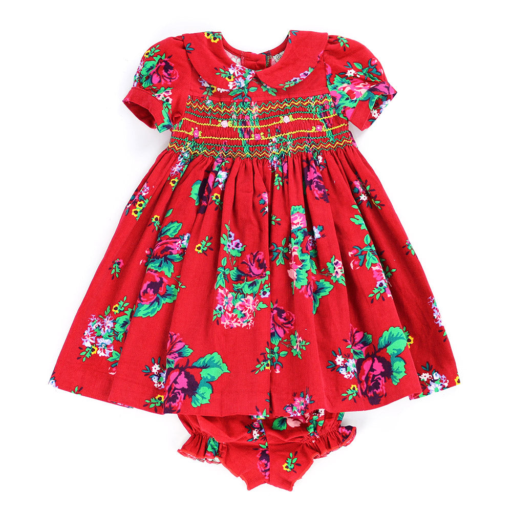 MARGOT MODERN FLORA SMOCKING DRESS- CARDINAL RED