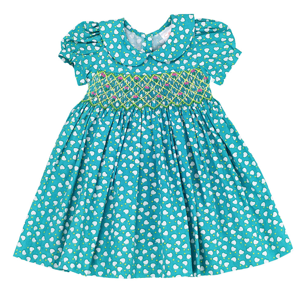 BLUE AMORE Smocking Dress - TEAL