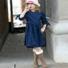 WINTER THISTLE Tie-Sleeve Dress - Royal Blue Corduroy