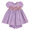 PRISCILLA PERKIN'S HAND SMOCKED DRESS- Purple