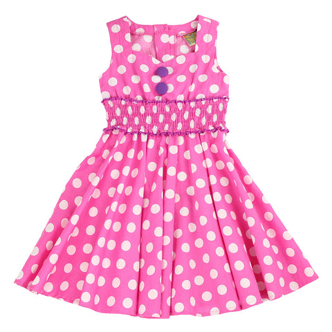 BUBBLE GUM POP DRESS - PINK POLKA DOT