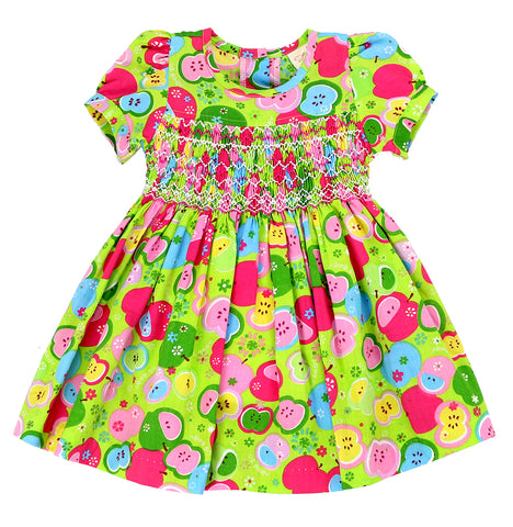 APPLE PIE SMOCKING Dress - Green