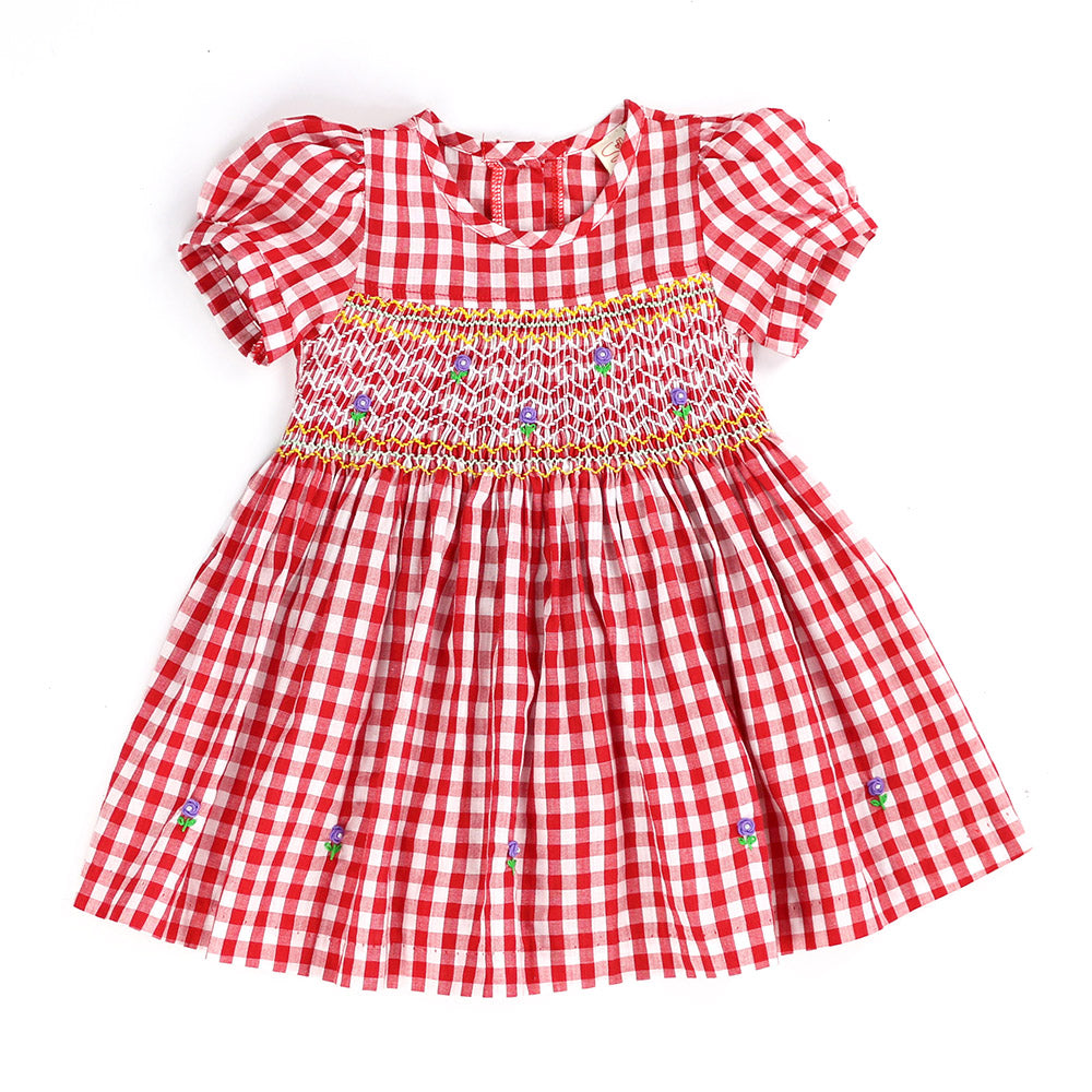 RED REDING HOOD'S PLAID PICNIC BASKET HAND SMOCKED DRESS- Robust Red