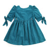 WINTER THISTLE Tie-Sleeve Corduroy Dress - Teal Green
