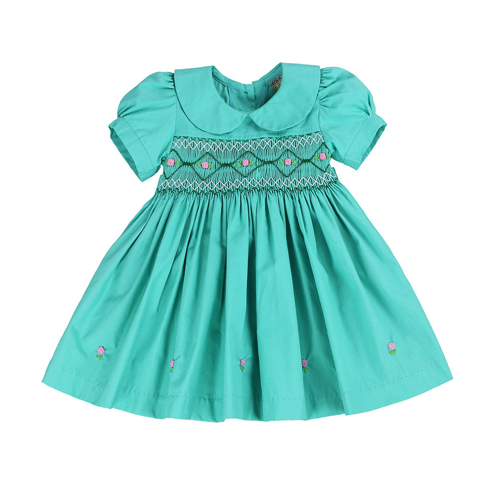 MELANIE MAGDALENA'S MOVE HAND SMOCKED DRESS- Marvelous Mint