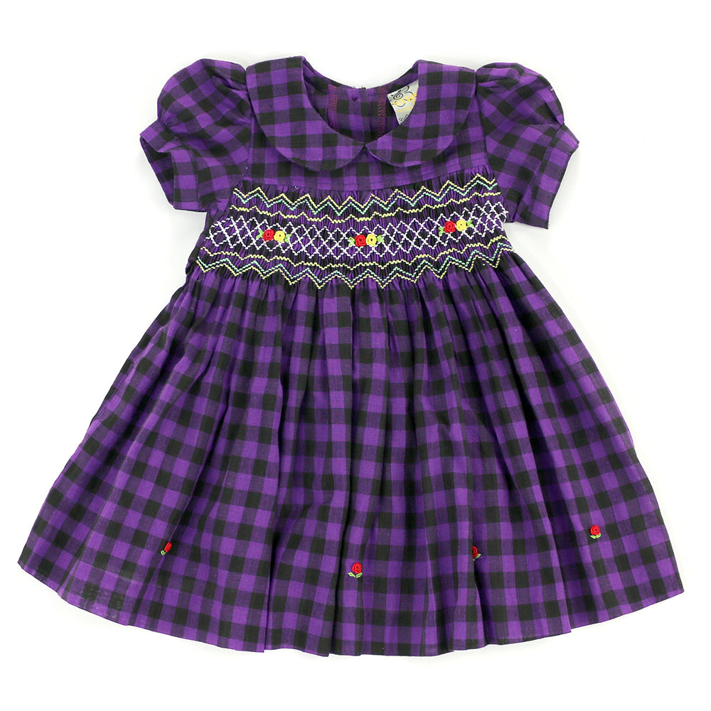 sissymini - Infant & Toddlers Soft & Delicate Hand Smocked Dresses | Alessa Violetta's in Midnight Purple Checker