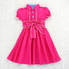Belted Puff-Sleeve Safari Dress- Fuchsia