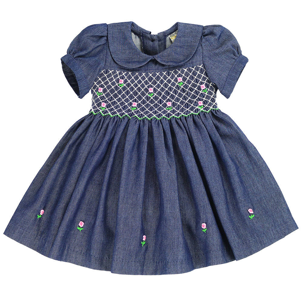 LALA DAKOTA - Hand Smocked Dress- DENIM