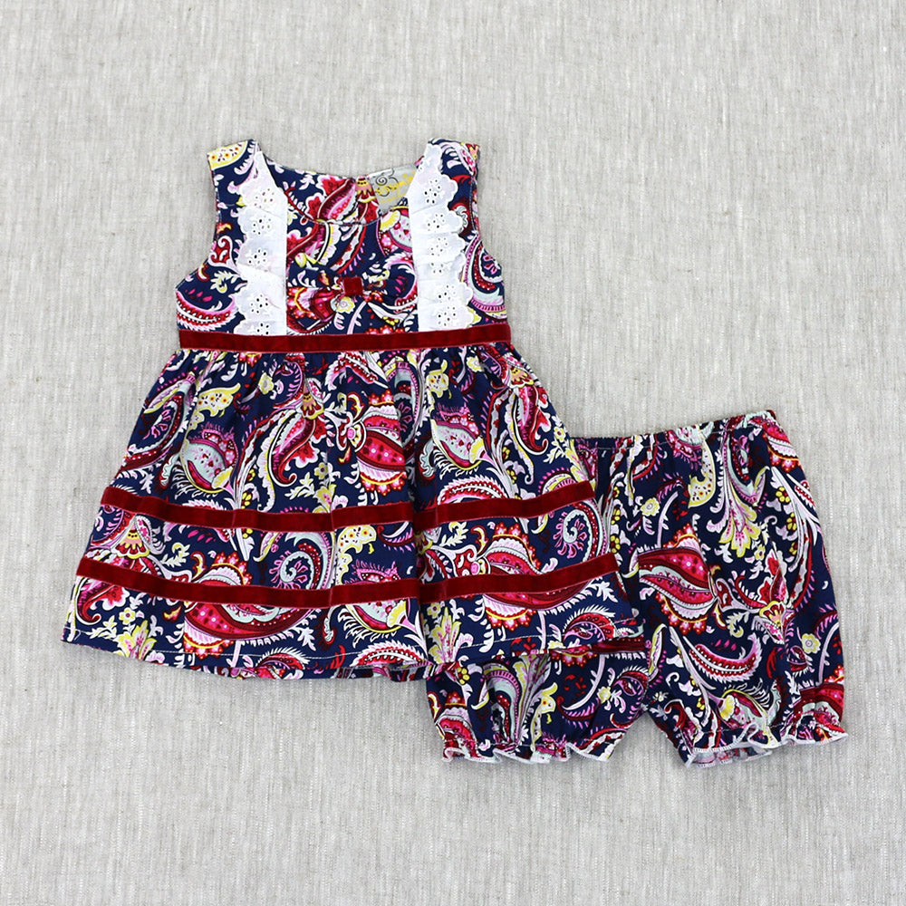 SWEET LITTLE EYELET SET- NAVY & PURPLE