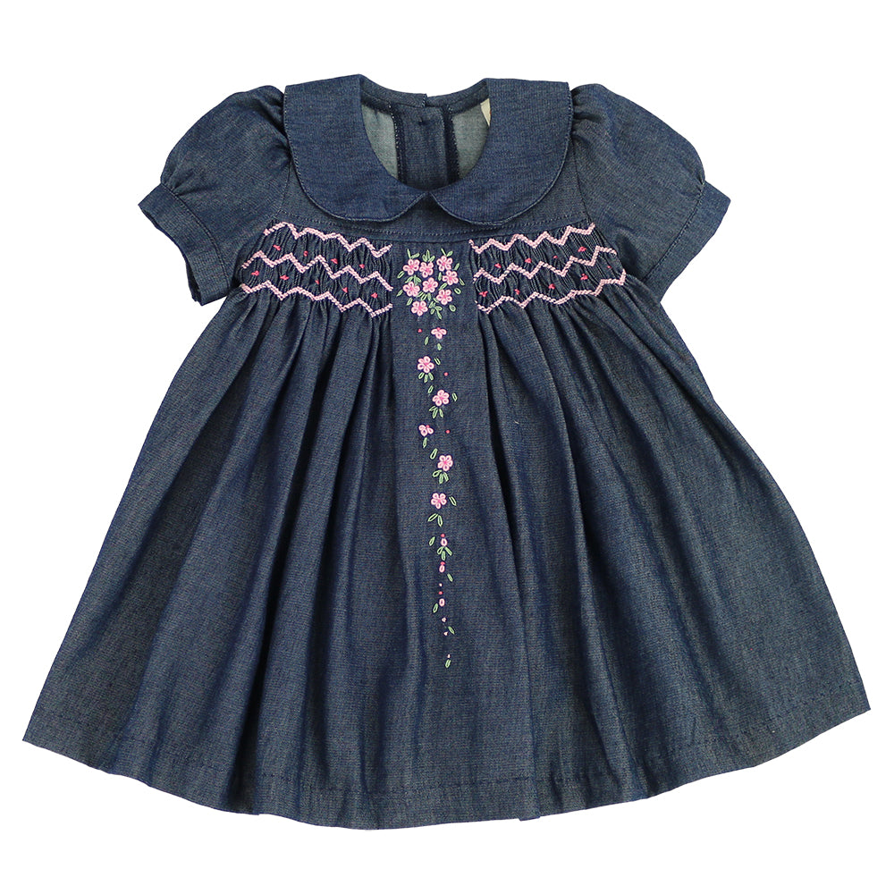 PRINCESS AGNES Smocking Dress - Extra Soft Pre-washed Denim
