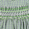 GENELLE GARD'S GARDEN PLAID HAND SMOCKED DRESS- Green