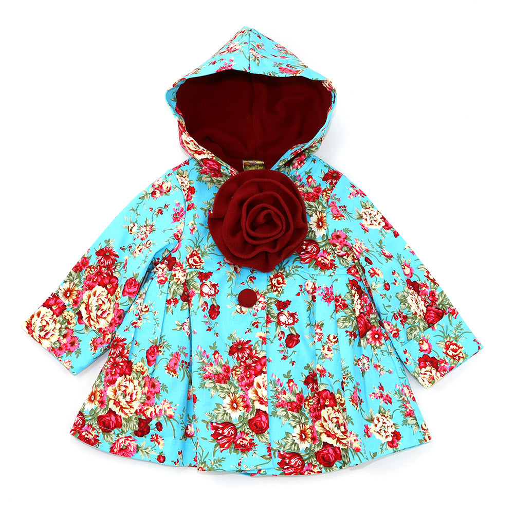 PARADISE FLORAL HOODED JACKET- ARCTIC BLUE