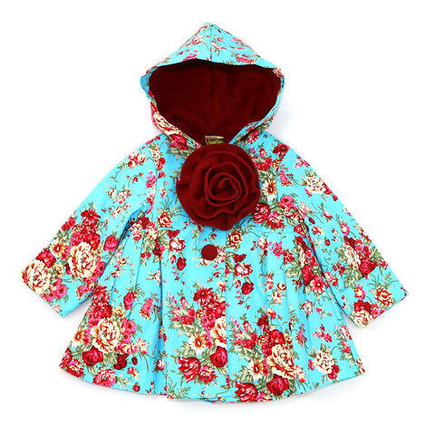 PARADISE HOODED JACKET- ARCTIC BLUE FLORAL