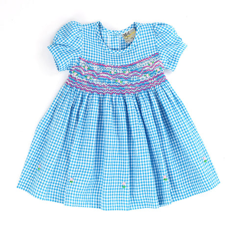 ANNETTE ALHART'S HAND SMOCKED DRESS- Aquamarine