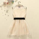 Sweet Bowknot Organza Sleeveless Dress AD0049