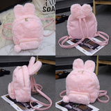 Pink/White Bunny Plush Backpack AD10341