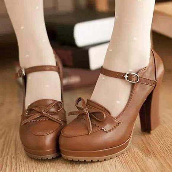 Brown Princess Bowknot Heels AD0212