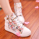 Students Floral Canvas High Help Shoes AD0236