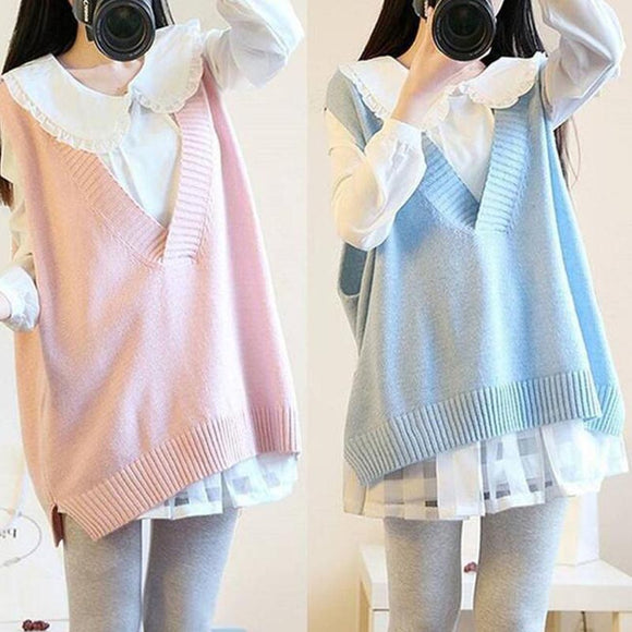 Students Shirt + Sweater Vest Knitted Suits AD0339