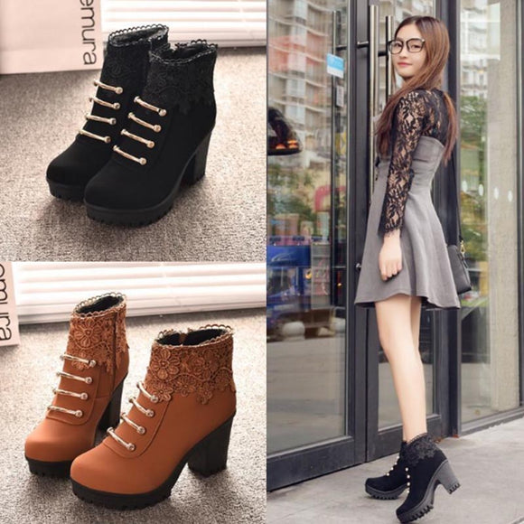 Black/Brown Lace Heels Martin Boots AD0163