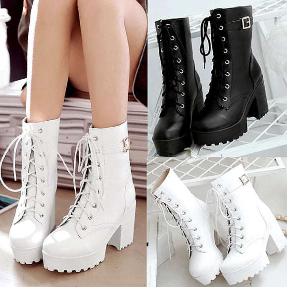 Black/White Cosplay JK Heels Martin Boots AD0088