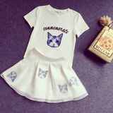 S-XL Black/White Japanese Kitty Two-Piece Dress AD10420