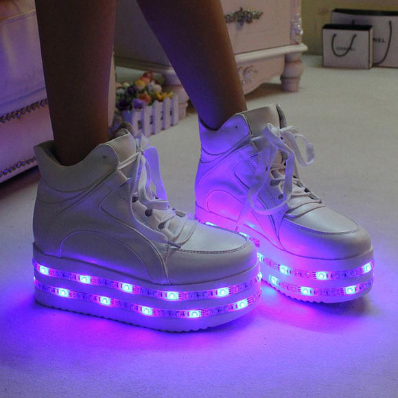 Hot sale! Fashion kawaii colorful led light up platform shoes AD0134