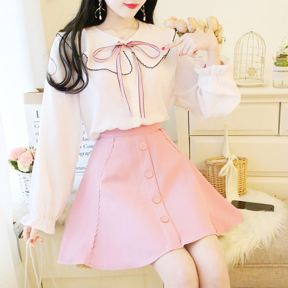 Chiffon Shirt Puff Skirt Suit AD11385