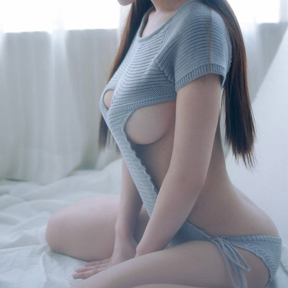 Grey/Blue Chest Hollow Out Virgin Killer Sweater AD11662