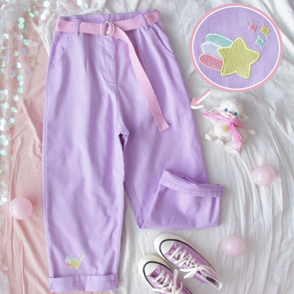 Embroidery Star Purple Trousers AD11014
