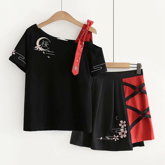Cherry Blossom Embroidery T-Shirt + Skirt Two-Piece AD11257
