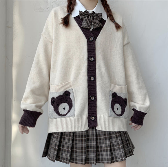 JK Bear Sweater Cardigan AD12574