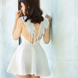 Backless Lace Angel Wings Dress AD0008