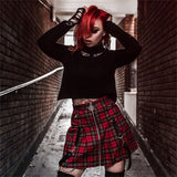 Red Grid Pleated Skirt AD10693