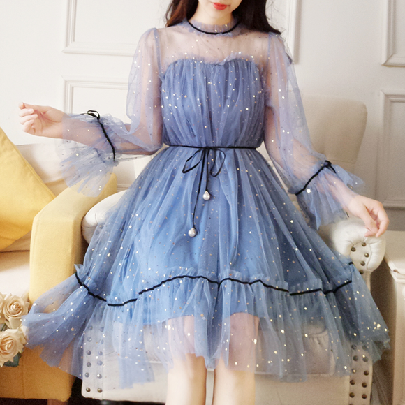 Free Shipping ! 5 Colors Fairy Paillette Lace Tulle Dress AD10418