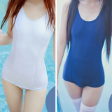 White/Blue Simple Sleeveless One Piece Swimming Suit AD10881