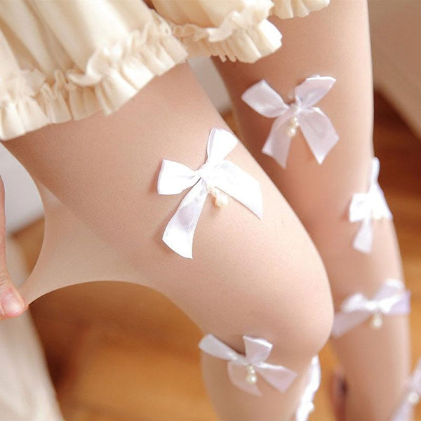 Black/White Bow Tights AD10205