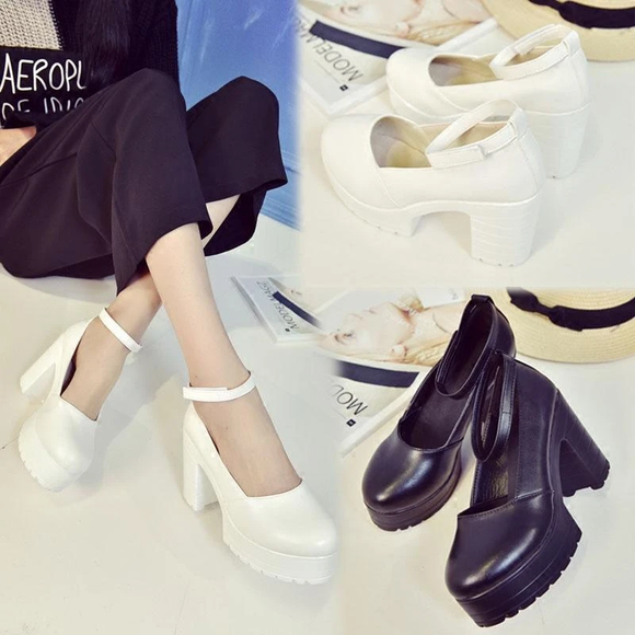 Black/White JK Uniform Heels AD11533