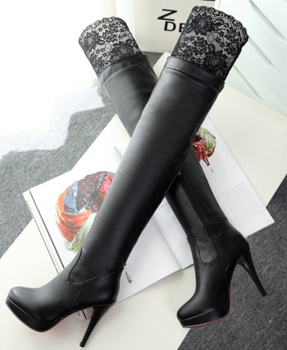 Fashion Lace Sexy High Knee High Heel Boots AD10258