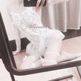 Bride Sexy Lace Wedding Dress Transparent Uniform Set AD12808