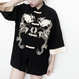 Black/White Dragon Embroidery Coat AD10117