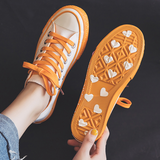 Sole Heart Letters Print Colorful Canvas Sneakers AD11937