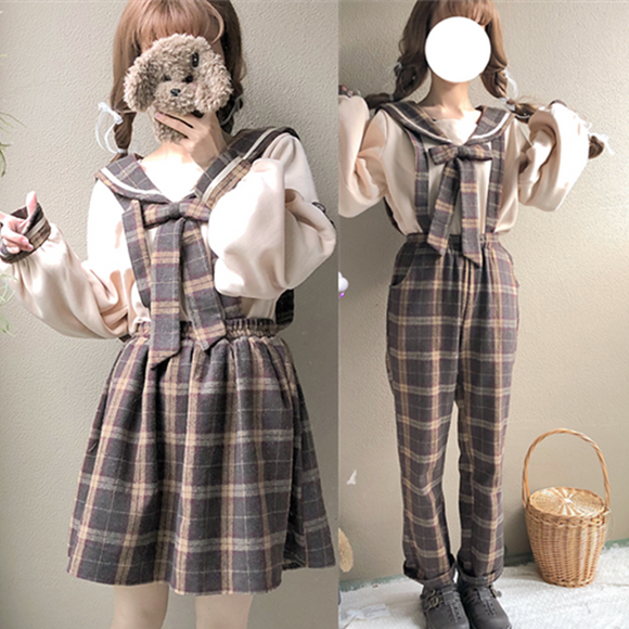 Japanese Bow Blouse+Plaid Strap Dress Two-Piece AD10535