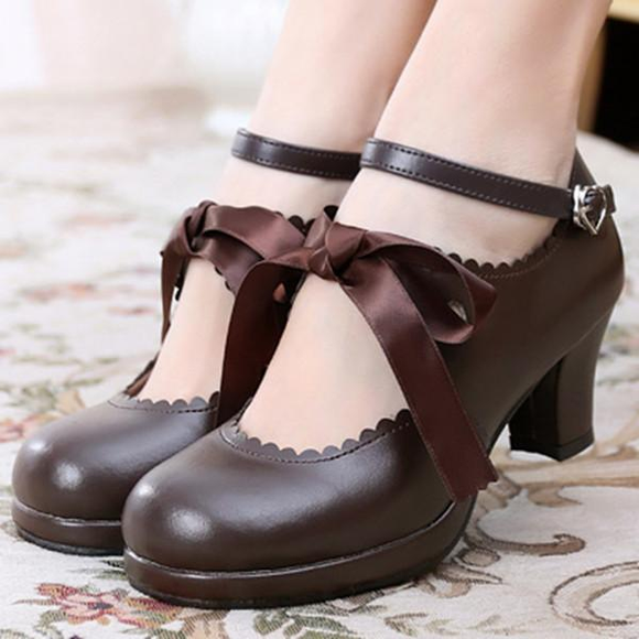 Japanese Lolita Cute Ribbon Shoes AD10249