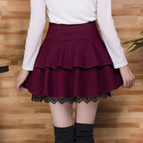 Sweet Black/Wine red Woolen Skirts AD10067