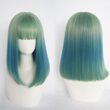 Harajuku Gradient Blue Straight Hair Wigs AD10111
