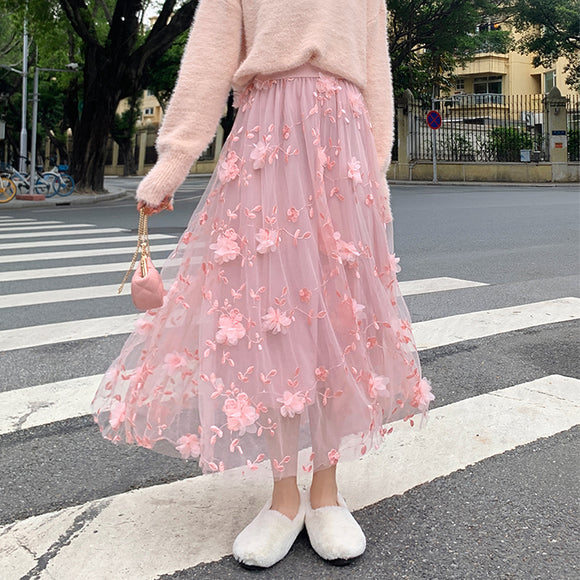 Fairy Flower Midi Skirt AD12715