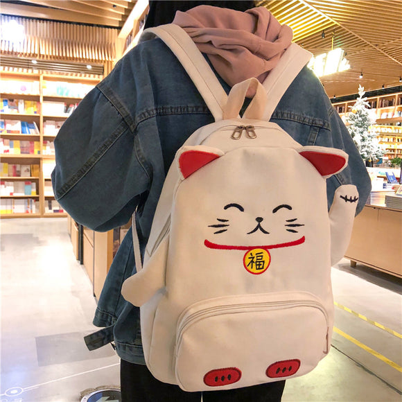 Harajuku Fortune Cat Canvas Backpack AD10306